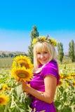 dziewczyna piękny słonecznik Zdjęcia Stock