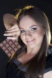 dziewczyna piękny czekoladowy portret Fotografia Stock