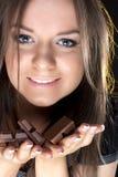 dziewczyna piękny czekoladowy portret Zdjęcia Royalty Free