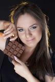dziewczyna piękny czekoladowy portret Obrazy Stock