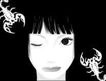 dziewczyna piękny skorpion ilustracji