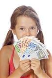 dziewczyna pieniądze Zdjęcia Royalty Free
