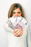 dziewczyna pieniądze zdjęcie stock