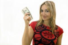 dziewczyna pieniądze Obrazy Royalty Free