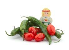dziewczyna pieprzy pomidory Zdjęcie Stock