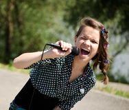 dziewczyna śpiew Fotografia Royalty Free