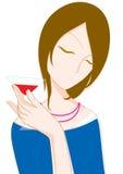 Dziewczyna pije koktajl również zwrócić corel ilustracji wektora Obraz Stock