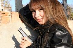 dziewczyna pistolet Zdjęcia Royalty Free
