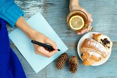 Dziewczyna pisze planie ręce Odgórny widok Pojęcie jedzenie Obrazy Royalty Free