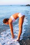 dziewczyna plażowy bieg obrazy royalty free