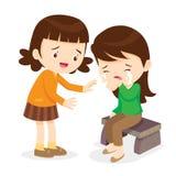 Dziewczyna Pociesza Jej płaczu przyjaciela Obraz Royalty Free