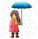 Dziewczyna pod raindrops z parasolem Obraz Stock