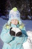 dziewczyna podmuchowy śnieg Obrazy Stock