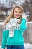 Dziewczyna portret outdoors w zimie obrazy royalty free