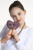 Dziewczyna pozuje z handmade zabawką Obraz Royalty Free