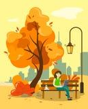 Dziewczyna pracuje przy komputerem w jesień parku na ławce z gorącą kawą Za widokiem drapacze chmur i miasto illustr ilustracja wektor