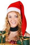 dziewczyna przedstawia Santa Zdjęcia Stock