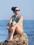 Dziewczyna przy morzem Zdjęcie Stock