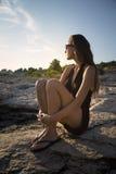 Dziewczyna przy morzem Obrazy Stock