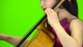 Dziewczyna przyczepia wiolonczelę z ona palce zielony ekran Boczny widok z bliska zbiory