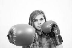 Dziewczyna przygotowywająca walczyć Obraz Royalty Free