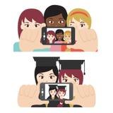 Dziewczyna przyjaciele bierze selfie Zdjęcie Royalty Free