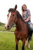 dziewczyna przystojna jej koń zdjęcie royalty free