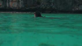 Dziewczyna relaksuje w turkus wodzie zdjęcie wideo