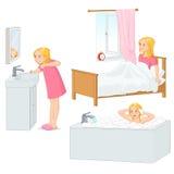 Dziewczyna robi jej ranek rutynowej wektorowej ilustraci Zdjęcia Royalty Free