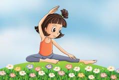 Dziewczyna robi joga w ogródzie ilustracji