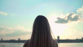 Dziewczyna robi sercu z jej rękami nad dennym tłem z pięknym złotym zmierzchem Sylwetka żeńska ręka w sercu zbiory wideo