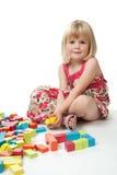 dziewczyna rok starego bawić się 4 bloku Obraz Royalty Free
