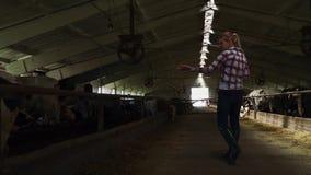 Dziewczyna rolnik robi wycieczce turysycznej stajnia zbiory
