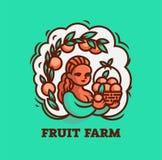 Dziewczyna rolnik z koszem owoc ilustracja wektor