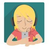 Dziewczyna słucha muzyka z słuchawki ilustracji