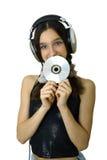dziewczyna słuchawki obrazy stock