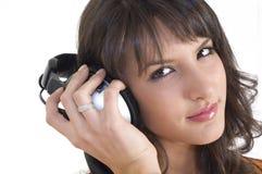 dziewczyna słuchawki obraz stock