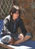 dziewczyna sadzająca Zdjęcie Royalty Free