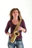 dziewczyna saksofon Obraz Royalty Free