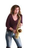 dziewczyna saksofon Fotografia Stock