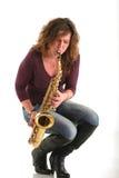 dziewczyna saksofon Zdjęcie Royalty Free
