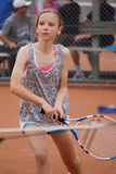 dziewczyna się młody tenisa Zdjęcia Royalty Free