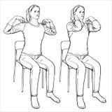 Dziewczyna siedzi na krześle i angażuje w fizycznej terapii Wektorowy format, imitacja freehand rysunek ilustracja wektor