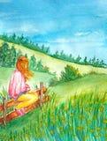 Dziewczyna siedzi na ogrodzeniu i cieszy się scenerię wzgórza z lasem ilustracji