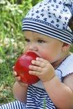 Dziewczyna siedzi w birchwood na trawie i je jabłka Fotografia Stock