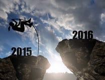 Dziewczyna skacze nowy rok 2016 Zdjęcia Royalty Free