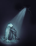 dziewczyna smutna ilustracja wektor