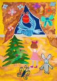 Dziewczyna spotyka błękitnego ptasiego symbol nowy rok Obrazy Stock