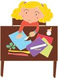 dziewczyna stół ilustracja wektor