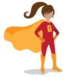 Dziewczyna super bohatera wybuchu tło Zdjęcie Royalty Free